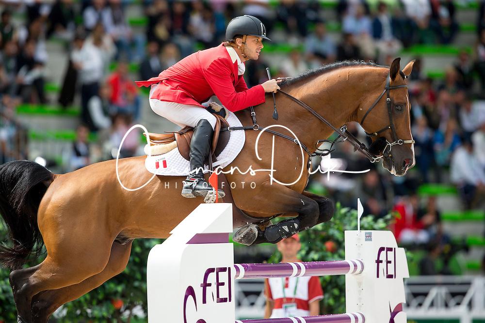 Alonso Valdez Prado, (PER), Ferrero Van Overis - Team & Individual Competition Jumping Speed - Alltech FEI World Equestrian Games™ 2014 - Normandy, France.<br /> © Hippo Foto Team - Leanjo De Koster<br /> 02-09-14