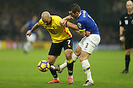 Leighton Baines of Everton intercepts Nordin Amrabat of Watford. Premier league match, Watford v Everton at Vicarage Road in Watford, London on Saturday 10th December 2016.<br /> pic by John Patrick Fletcher, Andrew Orchard sports photography.