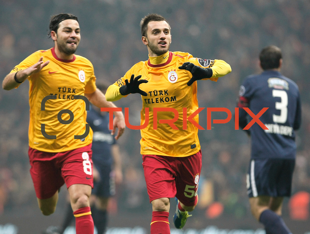 Galatasaray's Emre Colak (R) celebrate his goal during their Turkish Super League soccer match Galatasaray between IBBSpor at the TT Arena at Seyrantepe in Istanbul Turkey on Tuesday, 03 January 2012. Photo by TURKPIX