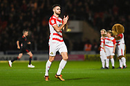 Ben Whiteman of Doncaster Rovers (8) claps the fans before kick off during the EFL Sky Bet League 1 match between Doncaster Rovers and Sunderland at the Keepmoat Stadium, Doncaster, England on 23 October 2018.