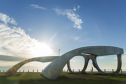 April 13, 2015 - Giant sculpture of a pair of spectacles on a lawn, promenade along ocean in the background. (Credit Image: © Mint Images via ZUMA Wire)