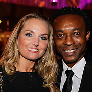 NLD/Amsterdam/20121013- LAF Fair 2012 VIP Night, Regi Blinker en partner Merije van der Wind