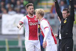 Mitchell Dijks of Ajax, Kasper Dolberg of Ajax during the Dutch Eredivisie match between ADO Den Haag and Ajax Amsterdam at Car Jeans stadium on September 17, 2017 in The Hague, The Netherlands