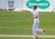 Ryan McLaren (Hampshire CCC) celebrates after taking the wicket of Michael Richardson (Durham County Cricket Club) during the LV County Championship Div 1 match between Durham County Cricket Club and Hampshire County Cricket Club at the Emirates Durham ICG Ground, Chester-le-Street, United Kingdom on 1 September 2015. Photo by George Ledger.