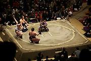 Yokozuna Hakuho performs the ring entering ceremony Ryogoky stadium Tokyo