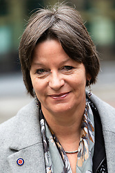 """Alison Chabloz, wearing a white supremacist """"White Pride"""" badge arrives at Southwark Crown Court in London where she is appealing against her conviction of violating laws against causing 'gross offence' after she performed antisemitic songs that included lyrics calling Auschwitz """"a theme park"""". London, February 13 2019."""
