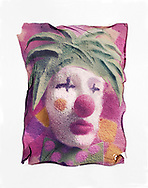 Polaroid Lift- Clown - polaroid lift photo art print by photographer Paul E Williams. These rare and striking polaroid lift was taken iby Paul Williams in 1992 and was awarded a Polaroid European Final Art Award. .<br /> <br /> Visit our FINE ART PHOTO  PRINT COLLECTIONS for more wall art photos to browse https://funkystock.photoshelter.com/gallery-collection/Fine-Art-Photo-Prints-by-Photographer-Paul-Williams/C0000UM829OLMVv8