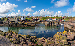 View of fishing harbour at St Abbs in Scottish Borders, Scotland, UK