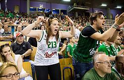 Supporters of Union Olimpija during basketball match between KK Union Olimpija and KK Rogaska in 2nd Final game of Liga Nova KBM za prvaka 2016/17, on May 19, 2017 in Hala Tivoli, Ljubljana, Slovenia. Photo by Vid Ponikvar / Sportida