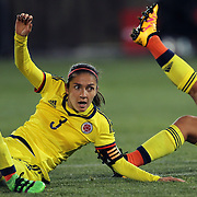 Natalia Gaitan, Colombia, in action during the USA Vs Colombia, Women's International friendly football match at the Pratt & Whitney Stadium, East Hartford, Connecticut, USA. 6th April 2016. Photo Tim Clayton