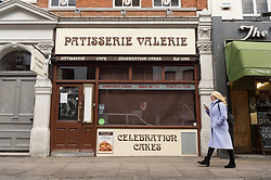 © Licensed to London News Pictures. 23/01/2019. LONDON, UK. Patisserie Valerie cafe on Old Compton Street, Soho is closed as the company collapses into administration. Photo credit: Ray Tang/LNP