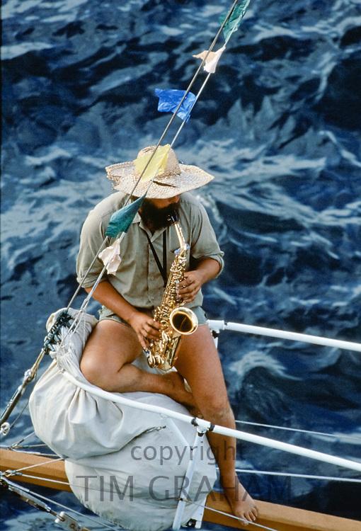 Jazz musician saxophone player at Central Coast Surf Carnival for bicentennial Terrigal Beach, Sydney