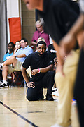 """NORTH AUGUSTA, SC. July 10, 2019. Coach Terrence """"Munch"""" Williams coaching at Nike Peach Jam in North Augusta, SC. <br /> NOTE TO USER: Mandatory Copyright Notice: Photo by Alex Woodhouse / Jon Lopez Creative / Nike"""