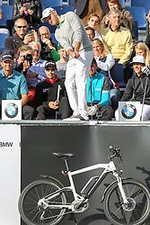 23.06.2015, Golfclub München Eichenried, Muenchen, GER, BMW International Golf Open, Show Event, im Bild Maximilian Kieffer (GER) schlaegt beim Show Event von der Tribuene ab // during the Show Event of BMW International Golf Open at the Golfclub München Eichenried in Muenchen, Germany on 2015/06/23. EXPA Pictures © 2015, PhotoCredit: EXPA/ Eibner-Pressefoto/ Kolbert<br /> <br /> *****ATTENTION - OUT of GER*****