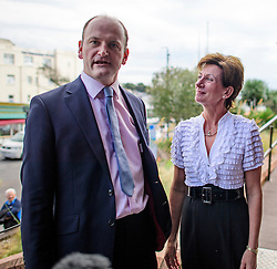 ©  London News Pictures. 17/09/2016. Bournemouth, UK. UKIP party leader DIANE JAMES and UKIP MP DOUGLAS CARSWELL arrive at Day  2 of the 2016 UKIP Autumn Conference, held at the Bournemouth International Centre in Bournemouth, Dorset. On Friday, the party elected Diane James as their new leader, following Nigel Farage resignation after the UK voted to leave the EU in a referendum..  Photo credit: Ben Cawthra/LNP