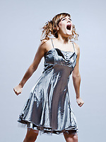 beautiful young caucasian woman girl evening dress screaming angry on studio isolated plain background