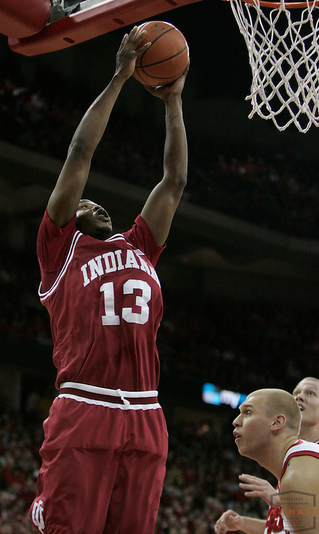 31 January 2008: Indiana guard/forward Jamarcus Ellis (13) as the Indiana Hoosiers played the Wisconsin Badgers in a college basketball game in Madison, Wisc..