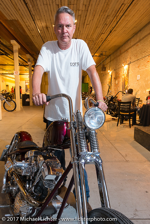 Donny Loos of Don's Custom Cycle at the In Motion invitational bike show at the Lone Star Rally. Galveston, TX. USA. Friday November 3, 2017. Photography ©2017 Michael Lichter.