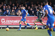 AFC Wimbledon defender George Francomb (7) running down the wing during the EFL Sky Bet League 1 match between AFC Wimbledon and Bristol Rovers at the Cherry Red Records Stadium, Kingston, England on 17 February 2018. Picture by Matthew Redman.