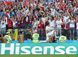 MOSCOW, July 1, 2018  Artem Dzyuba of Russia celebrates scoring during the 2018 FIFA World Cup round of 16 match between Spain and Russia in Moscow, Russia, July 1, 2018. (Credit Image: © Cao Can/Xinhua via ZUMA Wire)