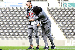 Josh Brownhill of Bristol City and Antoine Semenyo of Bristol City hug - Mandatory by-line: Robbie Stephenson/JMP - 20/08/2019 - FOOTBALL - Pride Park Stadium - Derby, England - Derby County v Bristol City - Sky Bet Championship