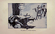 The Death of the African Magician from the Book ' The Arabian nights ' Edited by Anna Tweed, Published in 1910 in New York, by The Baker & Taylor company Illustrated by Caspar Emweson and Leon D'Emo