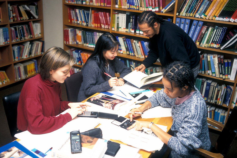 Students working in library University of Westminster London UK