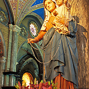 The Shrine to the Virgin Mary at the Basilica Santa Maria sopra Minerva, the only Gothic church in Rome.  It was begun in 1280 and stands on the ruins of the Temple of Minerva built by Pompey around 50 BCE.  On the right is