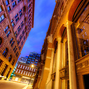 Downtown Kansas City Missouri at dusk on Baltimore Street between 8th & 9th.