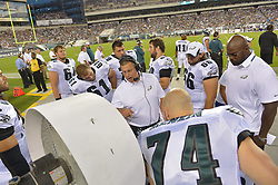PHILADELPHIA, PA - AUGUST 09: Coach Jeff Stoutland of the Philadelphia Eagles talks to the players during the game against the New England Patriots at Lincoln Financial Field on August 9, 2013 in Philadelphia, Pennsylvania. (Photo by Drew Hallowell/Philadelphia Eagles/Getty Images) *** Local Caption *** Jeff Stoutland