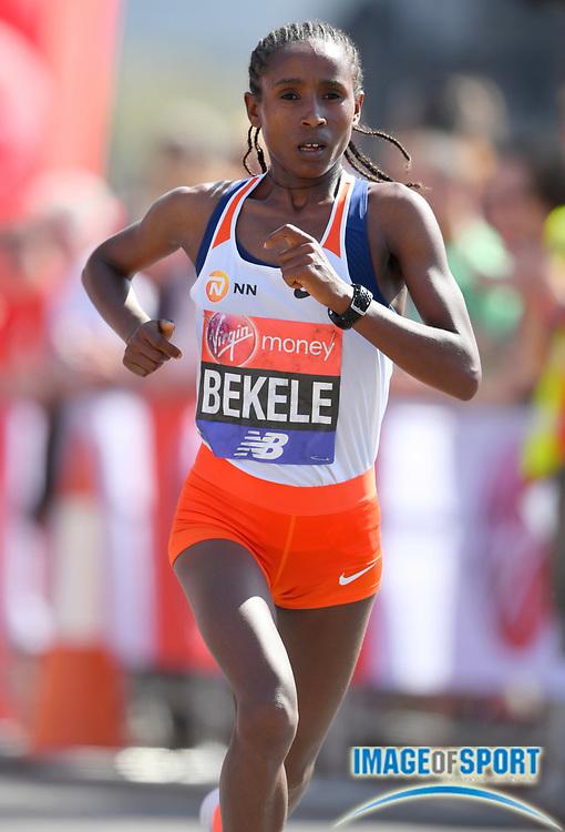 Tadelech Bekele (ETH) places third in the women's race in 2:21:40 in the London Marathon in London, Sunday, April 22, 2018. (Jiro Mochizuki/Image of Sport)