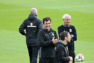 Chris Coleman, the Wales coach smiles and rubs his hands ready for the Wales football team training at the Vale Resort in Hensol , South Wales on Monday 2nd October 2017, the team are preparing for their FIFA World Cup qualifier away to Georgia this week. pic by Andrew Orchard, Andrew Orchard sports photography
