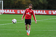 Joe Allen of Wales during the Wales football team training at Hensol Castle, Vale of Glamorgan, South Wales on Tuesday 10th November 2015. the team are training ahead of their friendly against the Netherlands on Friday,<br /> pic by  Andrew Orchard, Andrew Orchard sports photography.