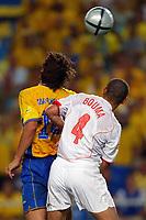 Faro 27/6/2004 Euro2004 <br />Svezia - Olanda 4-5 after penalties (0-0) <br />Zlatan Ibrahimovic of Sweden and Wilfred Bouma of Netherlands<br />Photo Andrea Staccioli Graffiti