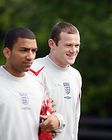 Photo: Chris Ratcliffe.<br />England training session. 06/06/2006.<br />Wayne Rooney is all smiles before warming up.