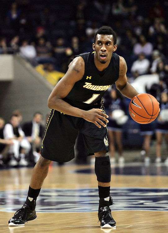 Jan 7, 2012; Norfolk, VA, USA; Towson Tigers forward Marcus Damas (1) against the Old Dominion Monarchs at the Ted Constant Convocation Center. Mandatory Credit: Peter Casey-US PRESSWIRE