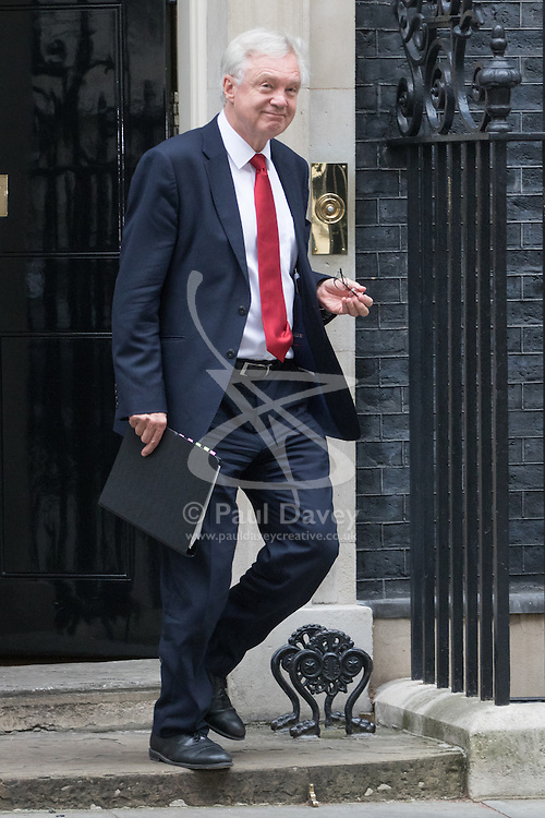 Downing Street, London, October 25th 2016. Secretary of State for Exiting the European Union David Davis leaves10 Downing Street following the weekly cabinet meeting and the announcement that the construction of a third runway at Heathrow Airport has initial government approval.
