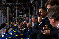 KELOWNA, BC - DECEMBER 18: Team Sweden head coach Tomas Monten stands on the bench against the Team Russia at Prospera Place on December 18, 2018 in Kelowna, Canada. (Photo by Marissa Baecker/Getty Images)***Local Caption***