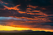 Stormy sunset over the southern Central Valley, California