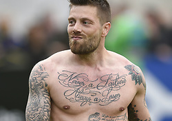 April 29, 2018 - Westerlo, BELGIUM - Westerlo's Benjamin 'Benji' De Ceulaer (with a tattoo saying Never a failure, Always a lesson) leaves the pitch after a soccer game between KVC Wessterlo and Tubize, in Westerlo, Sunday 29 April 2018, on day 6 (out of 6) of the Play-off 3 of the Belgian soccer championship. BELGA PHOTO JOHN THYS (Credit Image: © John Thys/Belga via ZUMA Press)
