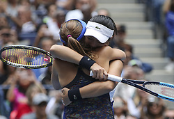 NEW YORK, Sept. 11, 2017  Yung-Jan Chan (R) of Chinese Taipei and Martina Hingis of Switzerland celebrate after the women's doubles final match against Lucie Hradecka and Katerina Siniakova of the Czech Republic at the 2017 US Open in New York, the United States, Sept. 10, 2017. Yung-Jan Chan and Martina Hingis won 2-0 to claim the title. (Credit Image: © Wang Ying/Xinhua via ZUMA Wire)