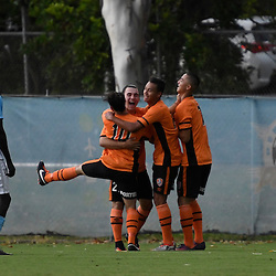 BRISBANE, AUSTRALIA - DECEMBER 3: Brisbane Roar players celebrate scoring a goal during the round 4 Foxtel National Youth League match between the Brisbane Roar and Melbourne City at AJ Kelly Field on December 3, 2016 in Brisbane, Australia. (Photo by Patrick Kearney/Brisbane Roar)