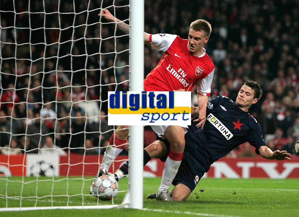 Photo: Tom Dulat.<br /> Arsenal v Slavia Prague. Group H, UEFA Champions League. 23/10/2007.<br /> Nicklas Bendtner scores seventh goal for Arsenal. Arsenal leads 7-0