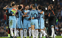 Football - 2016 / 2017 UEFA Champions League - Group C: Manchester City vs. Barcelona<br /> <br /> Manchester City players surround Ilkay Gundogan of Manchester City after the match at The Etihad Stadium.<br /> <br /> COLORSPORT/LYNNE CAMERON