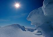 Sculptured ice pressure ridge, Rainy Lake, Voyageurs National Park, Minnesota.