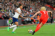 Nikita Parris (7) of England on the attack during the FIFA Women's World Cup UEFA Qualifier match between England Ladies and Wales Women at the St Mary's Stadium, Southampton, England on 6 April 2018. Picture by Graham Hunt.