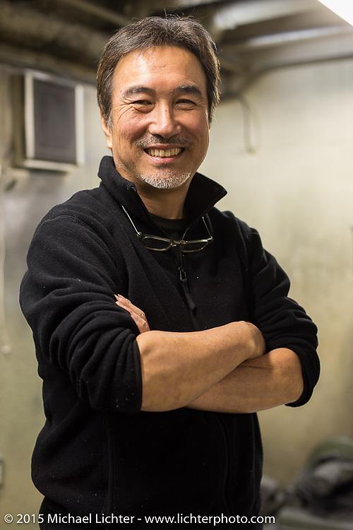 Custom bike builder Keiji Kawakita on a visit to his shop Hot Dock Custom Motorcycles. Tokyo, Japan. December 8, 2015.  Photography ©2015 Michael Lichter.