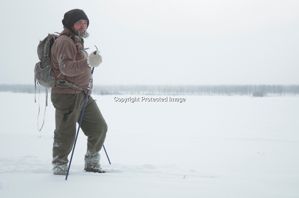 Mike Mease, Buffalo Filed Campaign coordinator on a ski patrol looking for bison along the Madison River in the Horse Butte area near West Yellowstone, Montana.