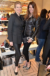 Left to right, PRISCILLA WATERS and CHRISTINA ESTRADA JUFFALI at a breakfast at Roger Vivier, 188 Sloane Street to view the SS2014 Roger Vivier collections held on 20th March 2014.