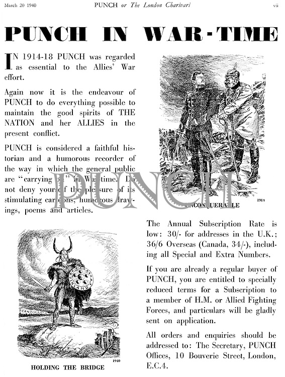 Punch in War-Time (advertisement 20 March 1940)